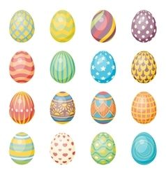 Set of sixteen eggs Easter collection vector image