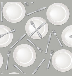 Table setting seamless pattern fork knife plate vector