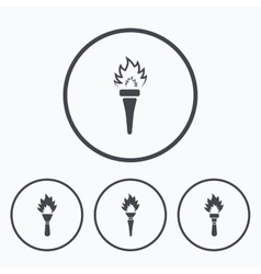Torch flame icons Fire flaming symbols vector image