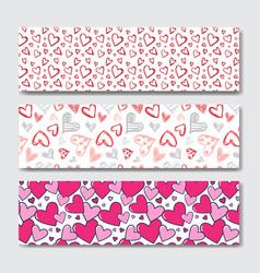 valentines day horizontal banner set decoration vector image vector image