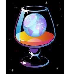 World in glass of cognac vector