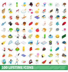 100 lifetime icons set isometric 3d style vector