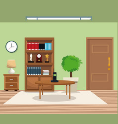 Room pot tree bookcase clock lamp table telephone vector