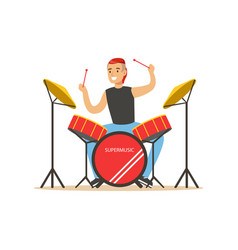 Young man playing on drums guy behind the drum vector