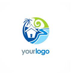 Beach cottage holiday logo vector