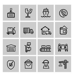 black shipping icon set vector image