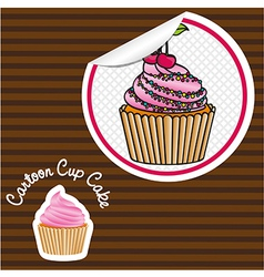 Cherry cupcake cartoon sticker lines background vector