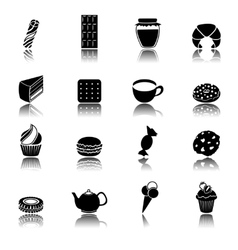 Sweets black icons set vector