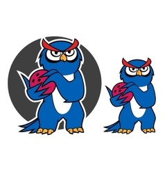 Blue owl character with bowling ball vector