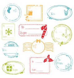 christmas gift tags collection vector image