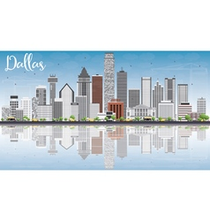 Dallas skyline with gray buildings blue sky vector