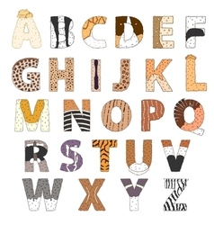 Furry alphabet hand drawn ilustration vector