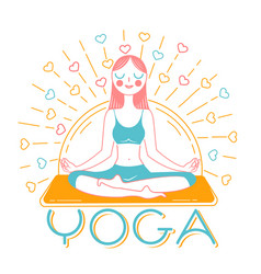 banner girl yoga inear style vector image vector image