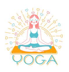 banner girl yoga inear style vector image