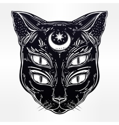 Black cat head portrait with moon and four eyes vector image vector image