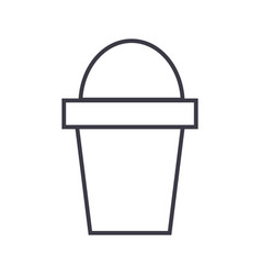 bucket line icon sign on vector image