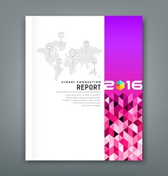 Cover annual report world map connections vector image vector image