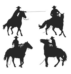 cowboy with lasso riding a horse vector image