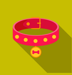 dog collar icon in flat style for web vector image vector image