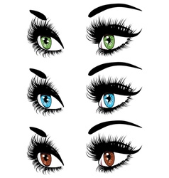 Fashion eyes in three colors vector