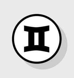 Gemini sign flat black icon in white vector