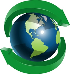 Globe and two green arrows vector image vector image