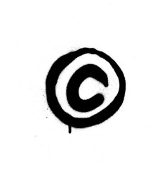 Graffiti sprayed copyright sign in black vector