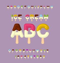 ice cream abc popsicle alphabet cold sweets font vector image