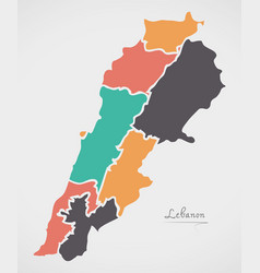 Lebanon map with states and modern round shapes vector