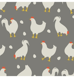 Rooster and chicken pattern grey vector