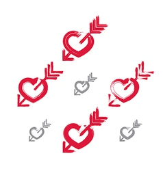 Set of hand-drawn red love heart icons collection vector image vector image