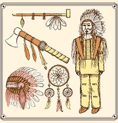 Sketch native american set in vintage style vector