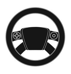 Steering wheel single icon in black style for vector