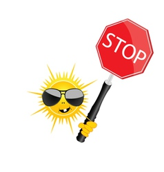 sweet and cute sun with sign stop vector image vector image