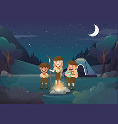 three scouts camping for activity in the night vector image vector image