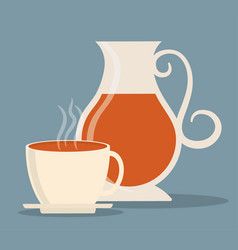 Kettle and cup of tea drink design vector