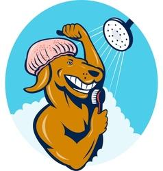 Cartoon dog singing shower scrubbing brush vector