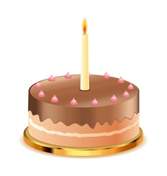 Chocolate cake with candle vector