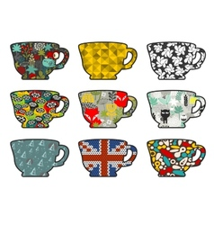 Set of tea cups with different patterns vector