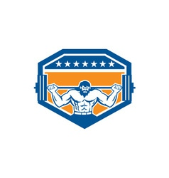 Bodybuilder lifting barbell shield retro vector