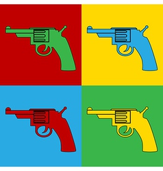 Pop art gun icons vector