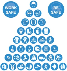 Blue pyramid health and safety icon collection vector