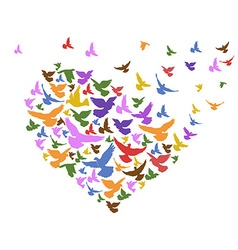 Color birds flying with heart vector