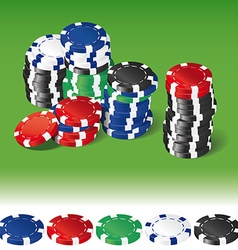 Gambling chips in stacks and isolated vector