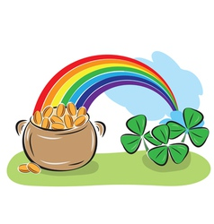 Pot with coins rainbow and shamrock vector