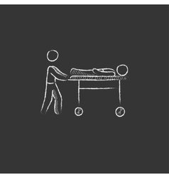 Man pushing stretchers drawn in chalk icon vector
