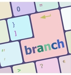 Branch word on keyboard key vector
