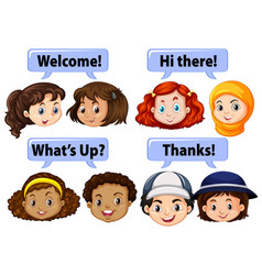 children saying polite words vector image vector image