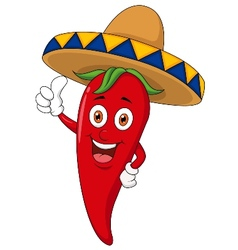 Chili cartoon with sombrero hat vector image