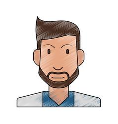 Color pencil half body man bearded vector